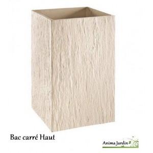 Bac carr haut en b ton cir quiberon ton blanc achat for Bac en beton jardin