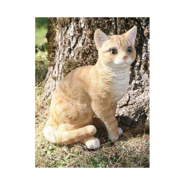 Chat roux assis 30cm en r sine d co de jardin riviera for Sujet deco jardin