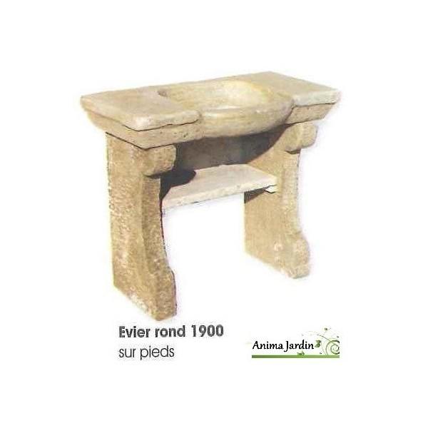 Evier 1900 en pierre reconstitu e rond style ancien for Evier exterieur en pierre