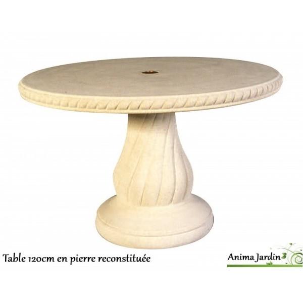 Table en pierre reconstitu e ronde 120cm avec frise - Table de jardin en pierre reconstituee ...