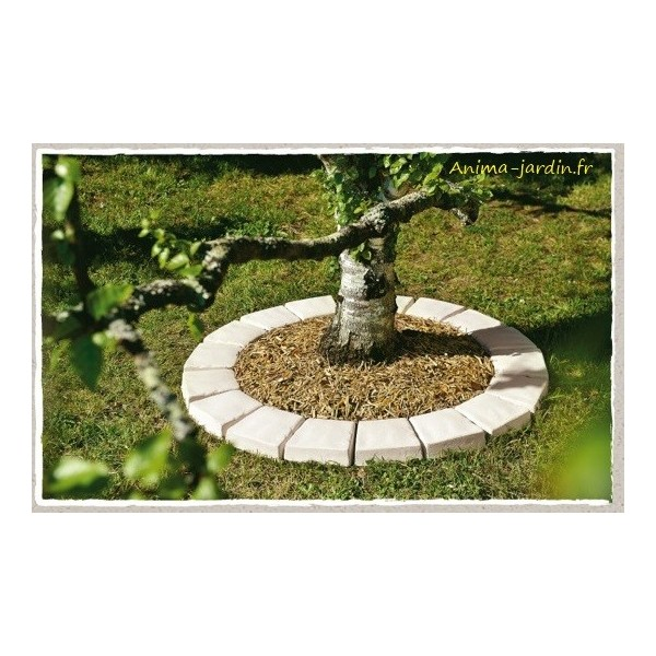 Pav tour d 39 arbre en pierre reconstitu e bordure b ton for Bordure de jardin en pierre