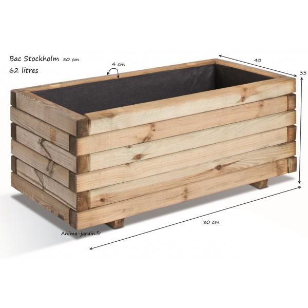 Bac jardini re bois pour plantes stockholm autoclave achat vente - Bac a legume en bois ...