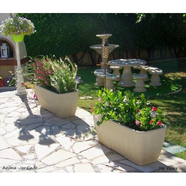 jardini re 1m en pierre reconstitu e bac rectangulaire grandon On bac jardiniere rectangulaire