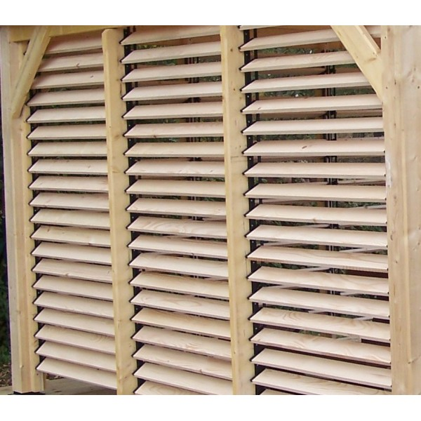 Panneau bois ventelles articul es pour tonnelle 4 pentes for Panneau de jardin bois