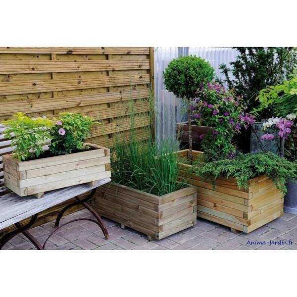 Jardini re 100 cm bois pour plantes stockholm autoclave for Achat jardiniere balcon