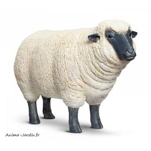 Mouton debout en r sine brebis t te noire haute animal for Statue en resine pour jardin
