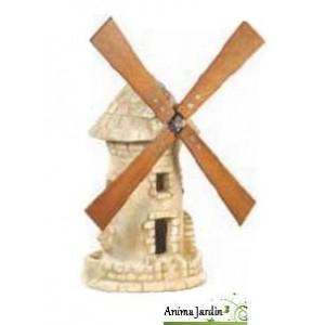 Moulin de jardin avec roue vieilli 54 cm en pierre for Moulin jardin deco