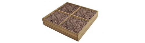 Bac en bois osier carr de jardin jardini re bois pot - Bac carre en bois jardin ...