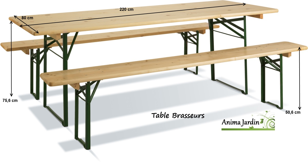 Table banquet pliable avec bancs en bois et m tal set for Table de salon pliable