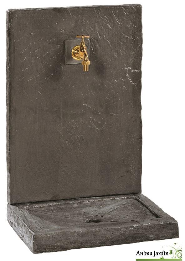 fontaine murale 74cm gm ardoisee noire pierre reconstitu e 017230. Black Bedroom Furniture Sets. Home Design Ideas