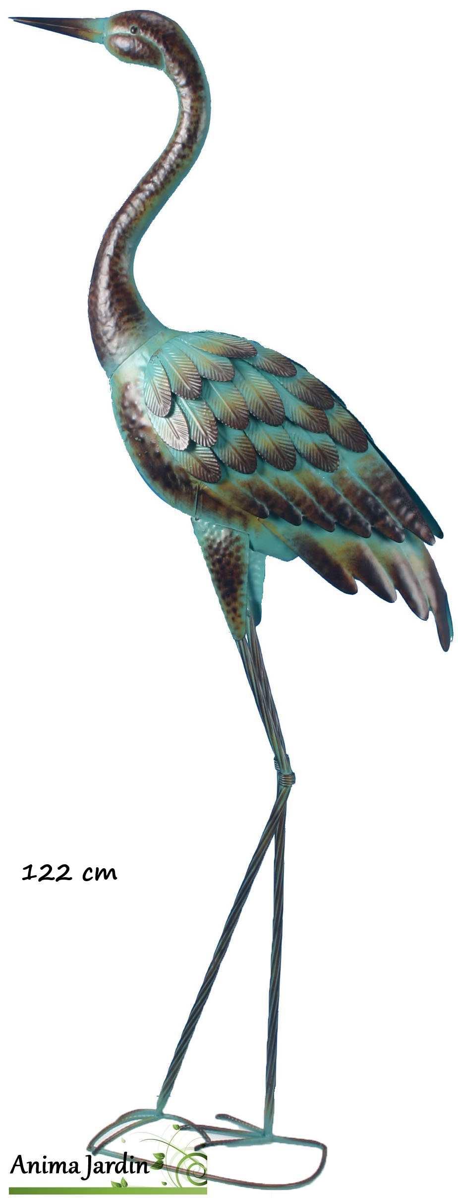 H ron en m tal regard ciel chassier droit 122 cm riviera for Decoration jardin oiseau metal