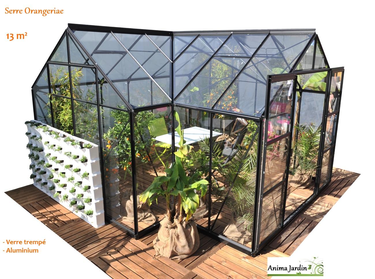 Serre de jardin, Orangeraie SIRIUS, verre trempé, aluminium, achat/vente,  Lams