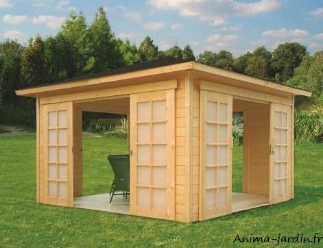 Abri de jardin en bois pavilion 4 ouvertures 12 60m solid pas cher - Abri jardin ouvert bois lyon ...