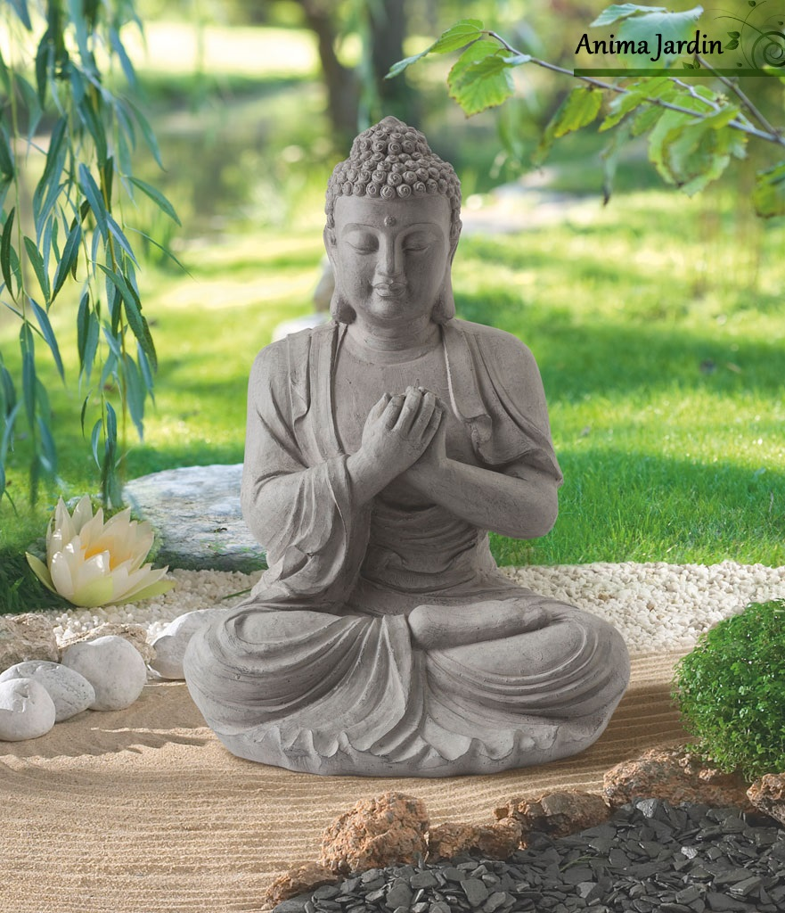statue buddha 60 cm en fibre de verre aspect pierre. Black Bedroom Furniture Sets. Home Design Ideas