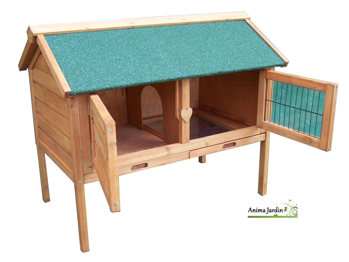 Clapier lapin en bois ext rieur t hiver sur pied for Cage a lapin exterieur