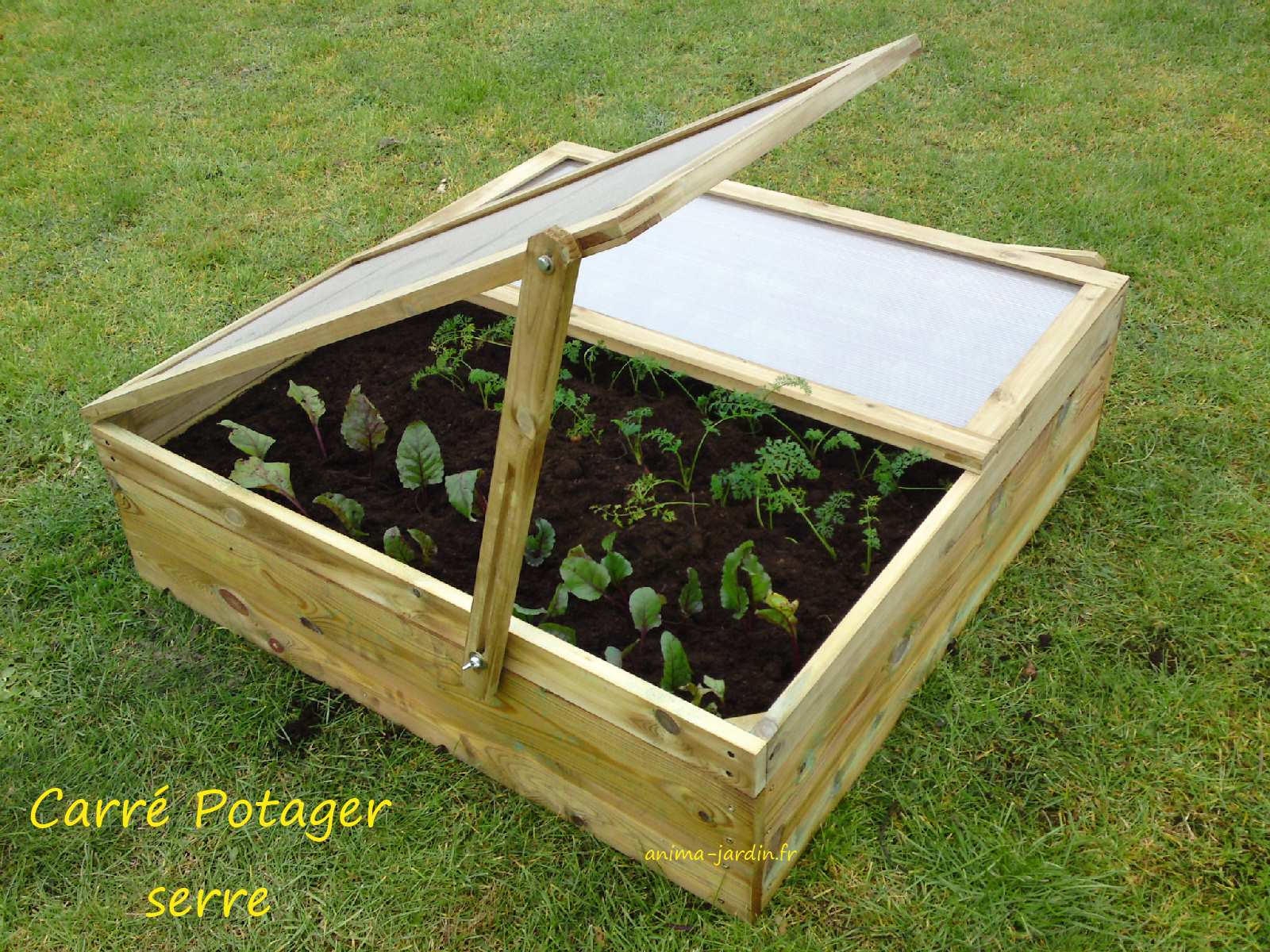 Carr potager en bois mini serre carr de jardin achat vente - Petit jardin potager carre ...