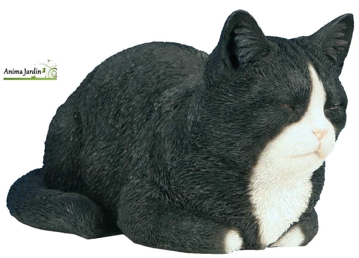 Chat noir blanc dormant 34 cm r sine tr s r aliste for Cafard noir de jardin