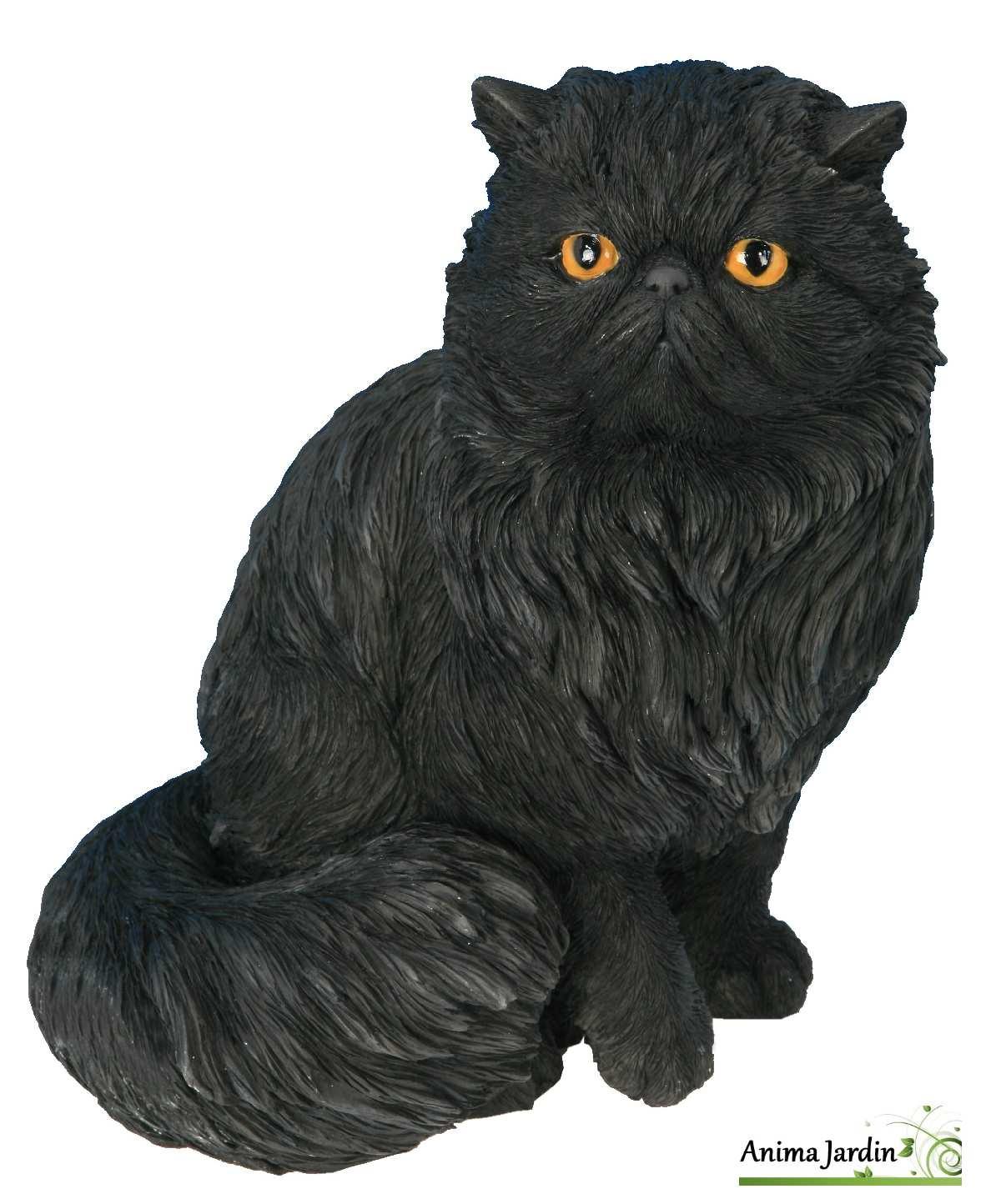 Chat persan noir 30cm en r sine assis riviera achat for Repulsif pour chat exterieur gratuit