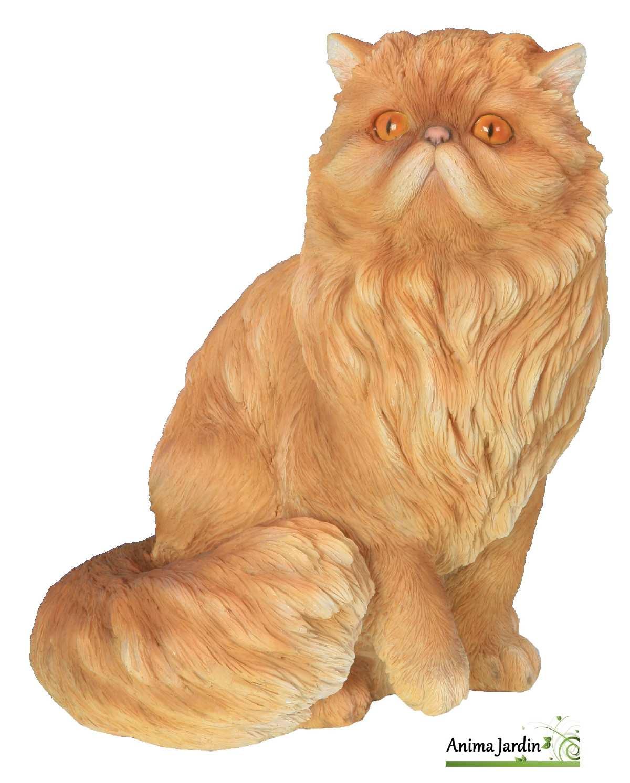 Chat persan roux 30cm en r sine assis riviera achat animal for Sujet decoratif pour jardin