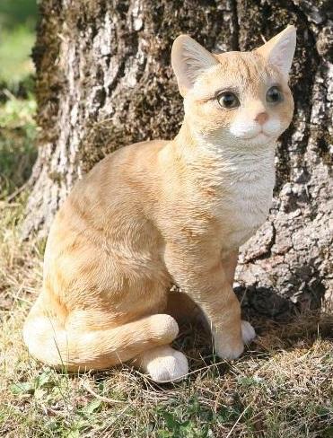 Chat roux assis 30cm en r sine d co de jardin riviera - Compagnie des produits pour le jardin ...