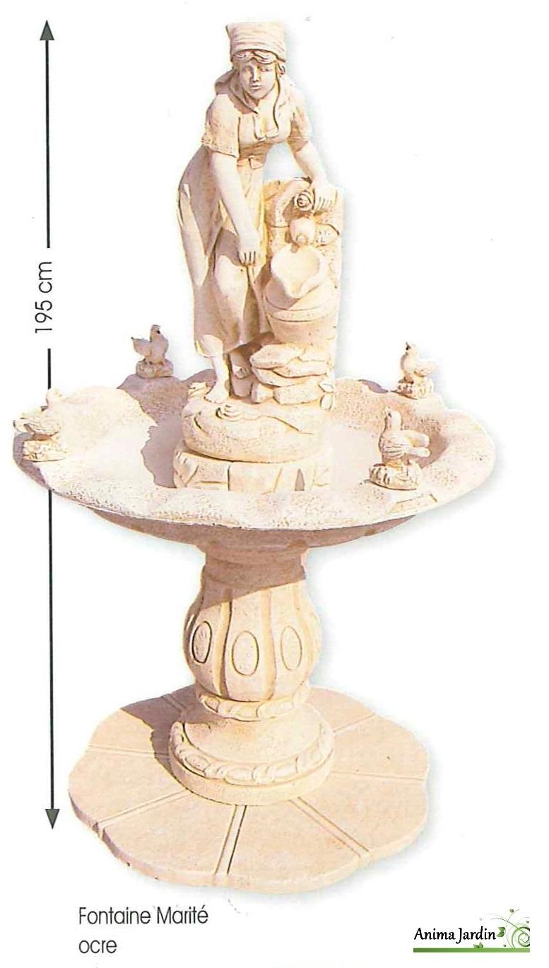 Fontaine Marité ocre en pierre reconstituée, h 195cm Framusa, achat ...