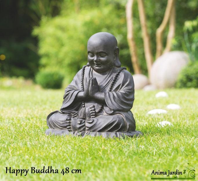 statue happy buddha 48 cm en fibre de verre aspect pierre d coration de jardin. Black Bedroom Furniture Sets. Home Design Ideas