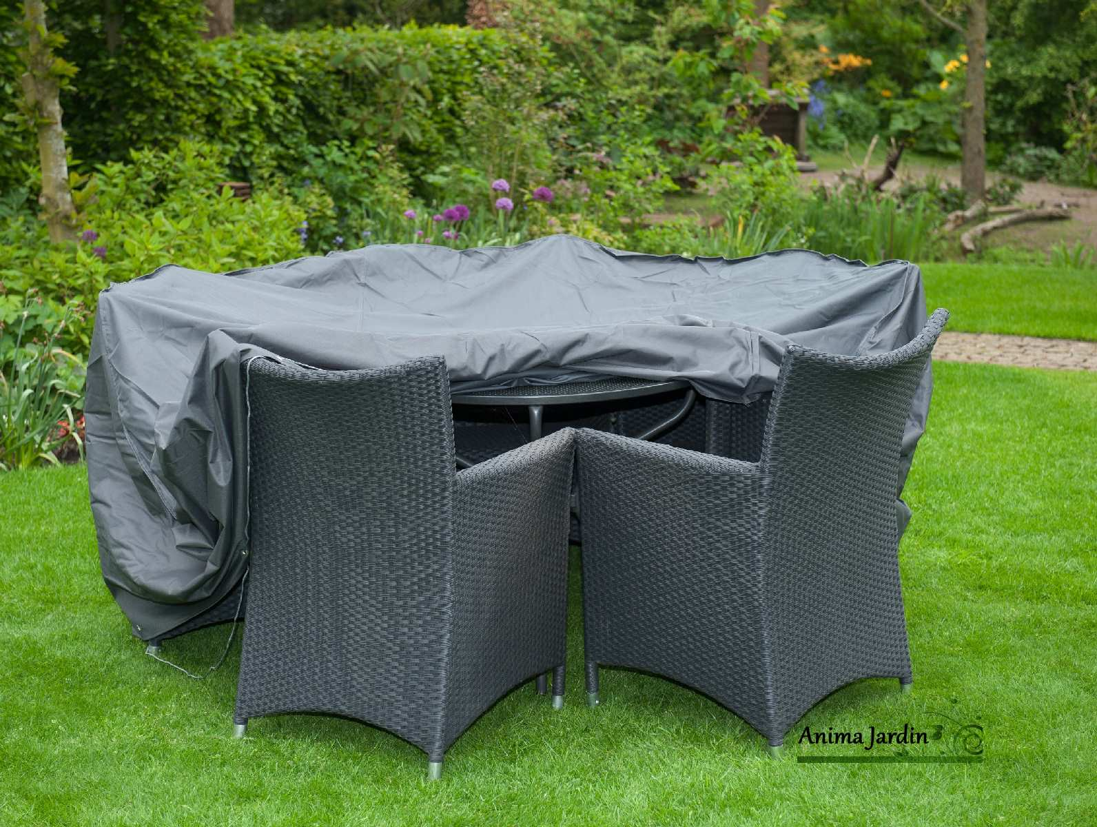Housse de protection salon de jardin table ronde imperm able for Housse salon de jardin angle