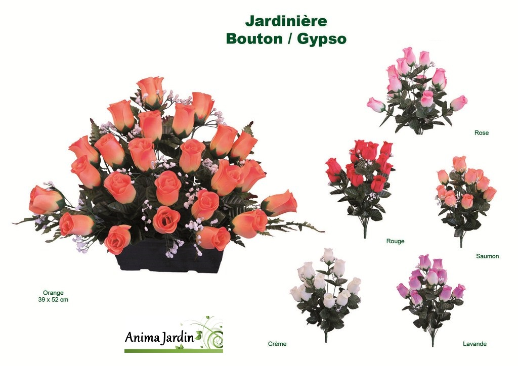 Jardini re boutons de rose fleur artificielle en tergale for Geranium artificiel jardiniere