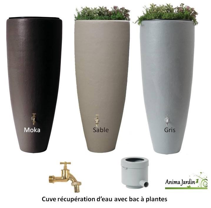 récupérateur d'eau de pluie 300 litres, 2 en 1, avec bac fleurs, graf