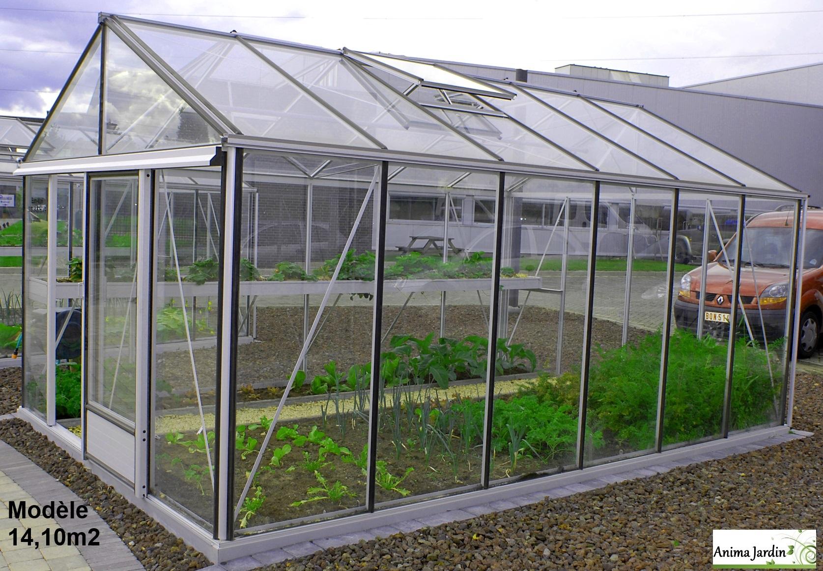 Serre Jardin horticole 14 10 m2 en verre trempé Aluminium