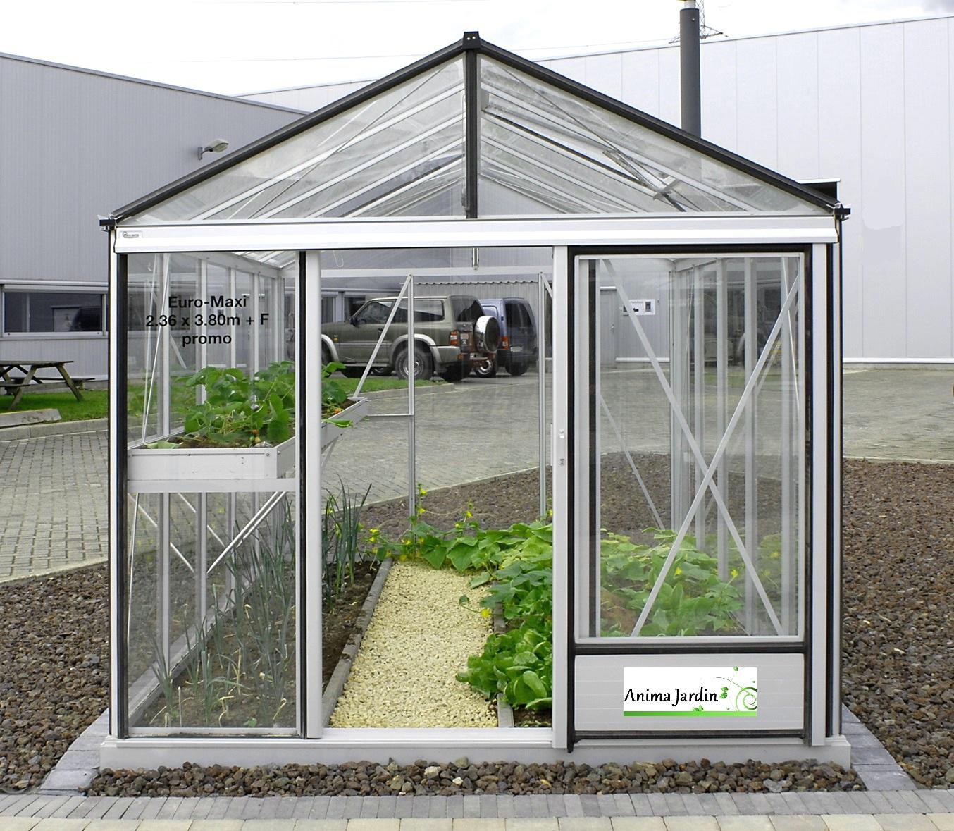Serre Jardin horticole, 7.30 m2, en verre trempé, Aluminium, serre euro  maxi, achat
