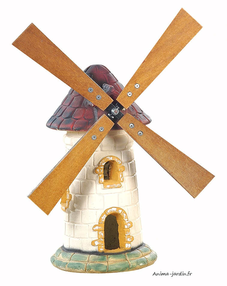 Moulin A Vent Decoration Jardin #7: Moulin-tuile-56cm-pierre-anima-jardin.fr