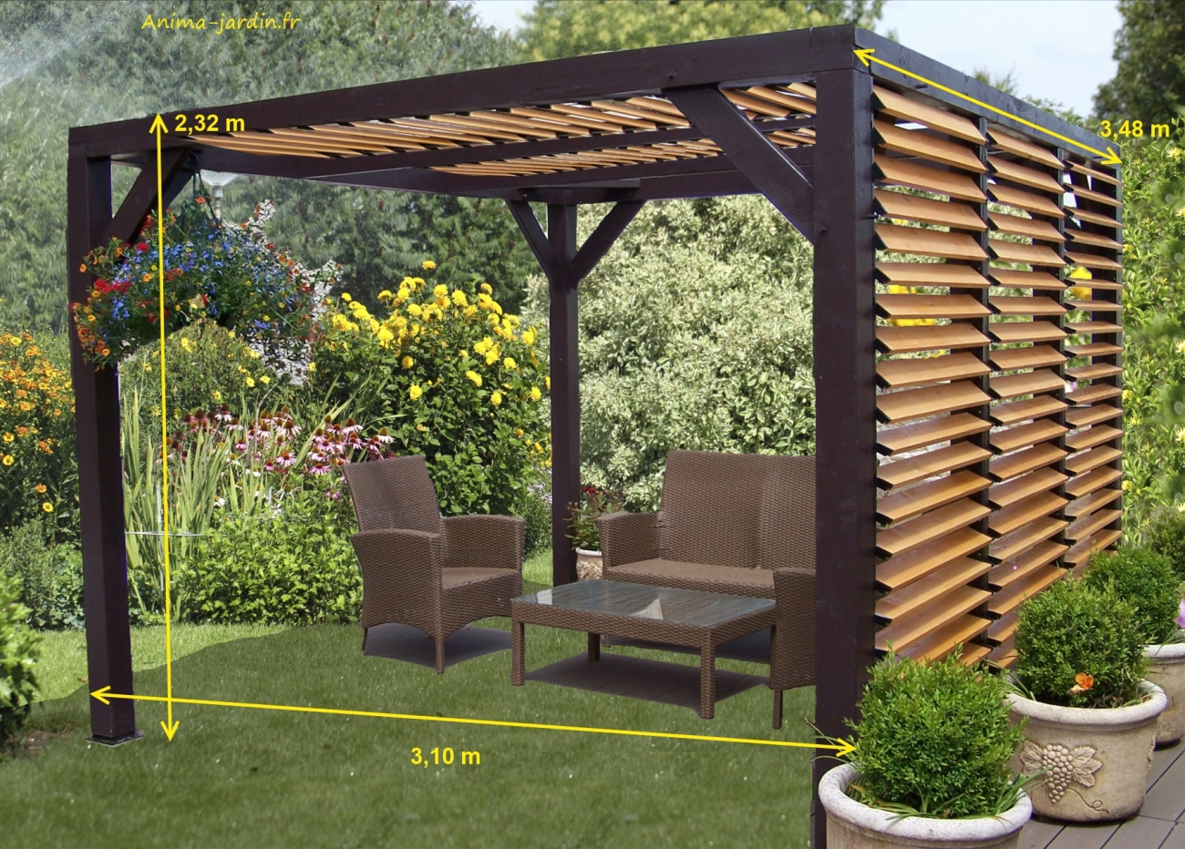 pergola pour salon de jardin. Black Bedroom Furniture Sets. Home Design Ideas