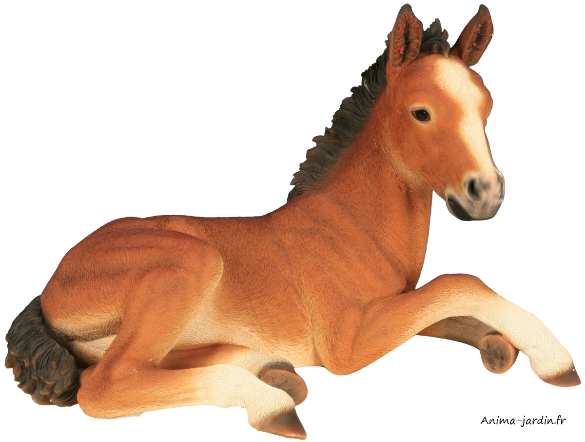 Poulain en r sine 60 cm figurine d co ext rieur animal for Sujet deco jardin