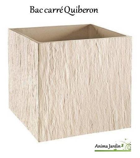 Bac carr en b ton cir 49 cm quiberon ton blanc achat for Bac en beton jardin