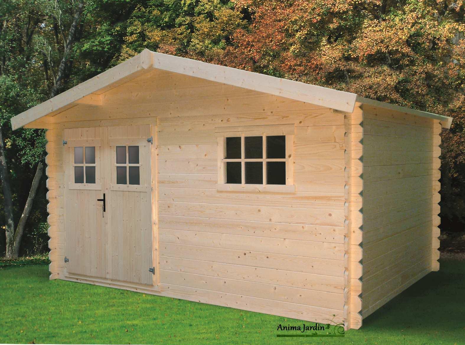 Carport bois solid for Abri jardin 10m2