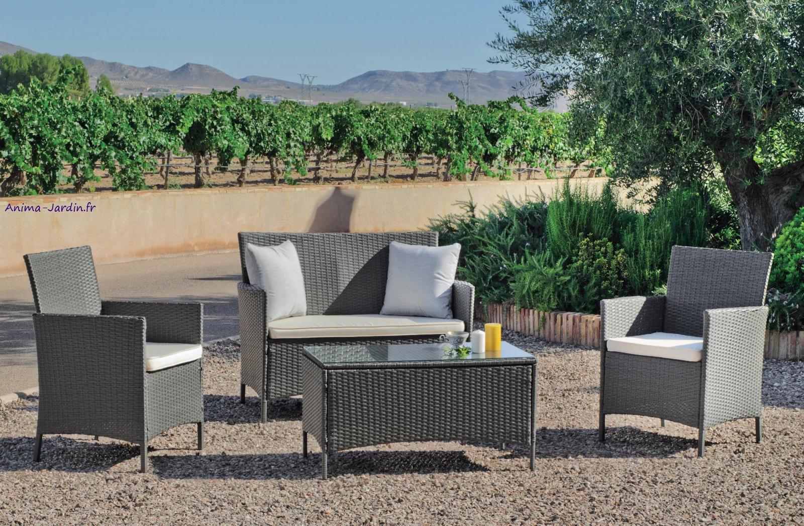 salon de jardin bas en r sine tress e gris p n lope avec coussins pas cher. Black Bedroom Furniture Sets. Home Design Ideas