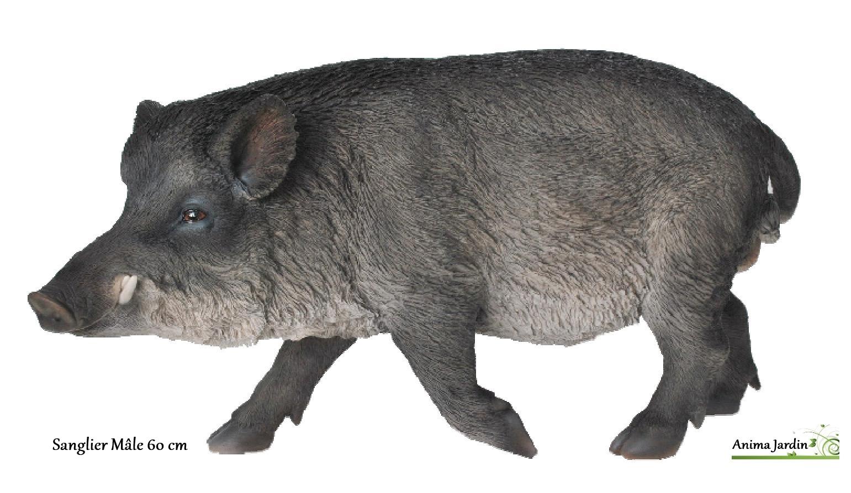 Sanglier m le 60 cm en r sine animal de la for t riviera for Animaux de jardin decoration