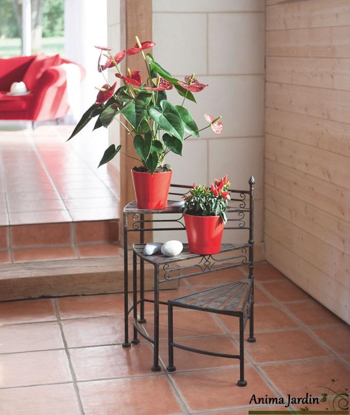 etag re pour plantes sellette 3 niveaux m tal eph se. Black Bedroom Furniture Sets. Home Design Ideas