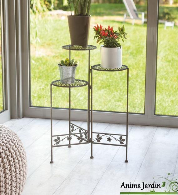 Sellettes pour plantes 3 niveaux m tal persea plateau - Decoration interieur pas cher en ligne ...
