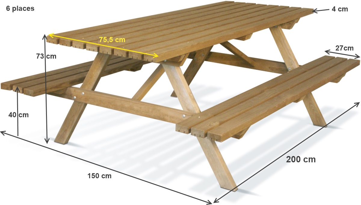 Table pique nique en bois foresti re 200x75 cm achat for Plan de construction table de jardin en bois