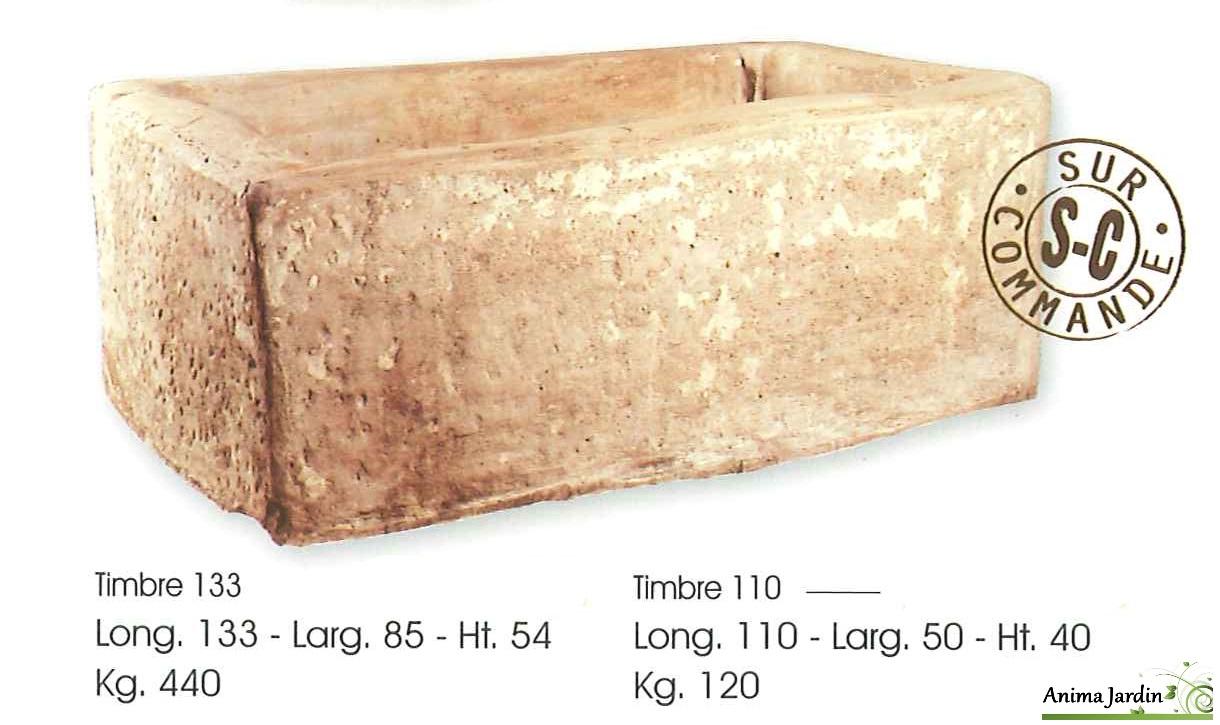 Bac en pierre, Timbre en pierre reconstituée, auge ancienne ...