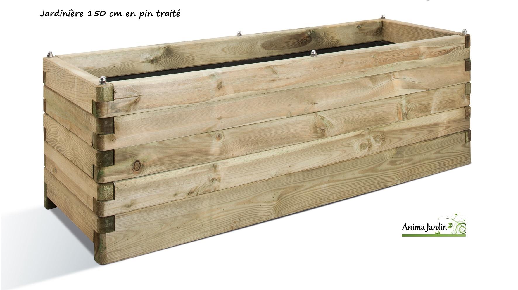 grande jardinière bois 150cm pour plantes, autoclave, achat/vente
