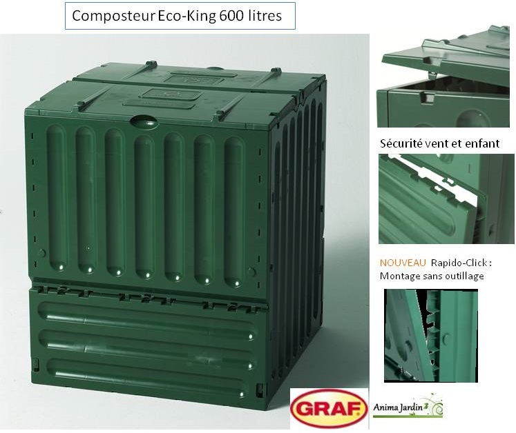composteur eco king vert 600 litres graf achat vente pas cher. Black Bedroom Furniture Sets. Home Design Ideas