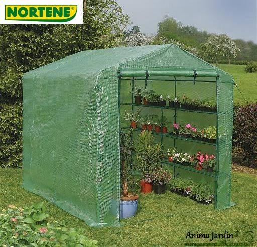 Serre jardin souple 5 m2 avec tag res pe renforc for Film plastique anti uv pour serre de jardin