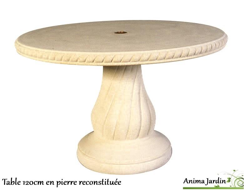 Table en pierre reconstitu e ronde 120cm avec frise for Table 5 en 1