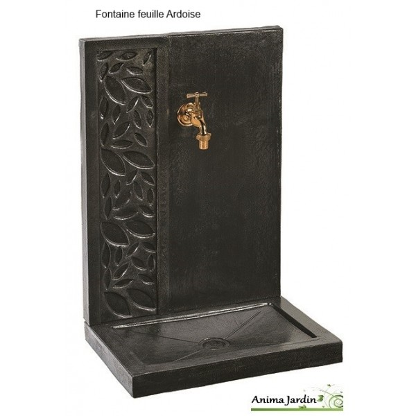 fontaine murale feuille b ton cir 70cm pierre reconstitu e. Black Bedroom Furniture Sets. Home Design Ideas