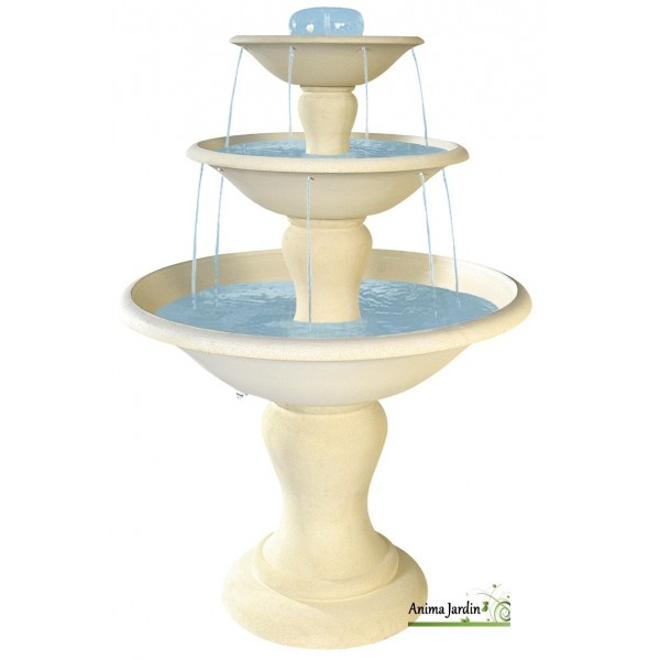 Fontaine cascade en pierre reconstitu e 3 vasques 170cm for Achat vente