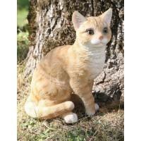 Chat roux assis 30cm en résine, déco de jardin, Riviera, achat, animal