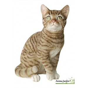 Chat Gris assis 30cm en résine, déco de jardin, Riviera, achat, animal